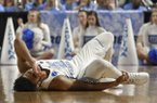 North Carolina's Joel Berry II (2) reacts after being injured during the second half against Texas Southernin a first-round game of the NCAA men's college basketball tournament in Greenville, S.C., Friday, March 17, 2017. (AP Photo/Rainier Ehrhardt)
