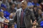 Arkansas head coach Mike Anderson reacts to a call during the first half in a second-round game against North Carolina of the NCAA men's college basketball tournament in Greenville, S.C., Sunday, March 19, 2017. (AP Photo/Rainier Ehrhardt)
