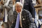 North Carolina head coach Roy Williams shouts to his team during the second half in a second-round game against Arkansas in the NCAA men's college basketball tournament in Greenville, S.C., Sunday, March 19, 2017. (AP Photo/Chuck Burton)