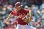 Arkansas pitcher Josh Alberius throws against Mississippi State in SEC baseball on Sunday, March 19.