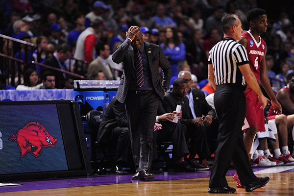 Arkansas coach Mike Anderson reacts to a call during a game against North Carolina on Sunday, March 19, 2017, in Greenville, S.C.