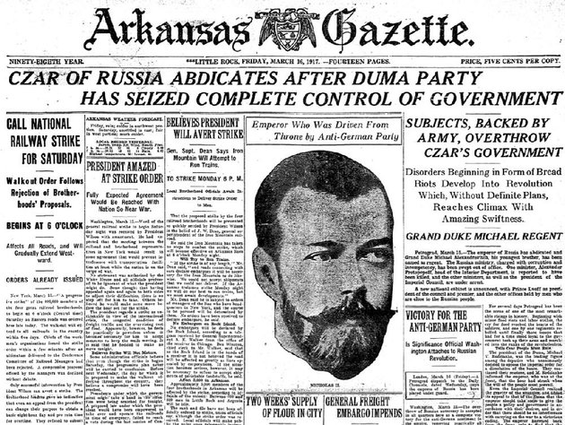 front-page-of-the-march-16-1917-arkansas-gazette-for-old-news-reflects-the-overthrow-of-the-romanovs-in-russia-and-the-us-edging-toward-declaring-war-against-germany