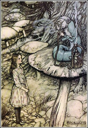 Arthur Rackham's illustration Advice From a Caterpillar depicts Alice, in Wonderland, trying to get information from the laconic — so concise that one seems rude — insect.