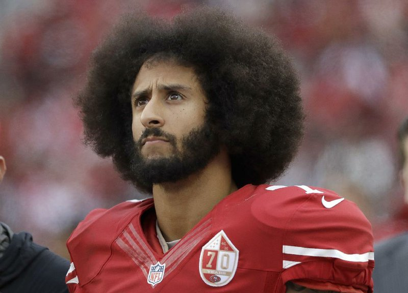 64376e7e1 11, 2016, file photo, San Francisco 49ers quarterback Colin Kaepernick  stands in the bench area during the second half of the team's NFL football  game ...