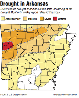 A map showing drought conditions in Arkansas.