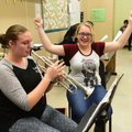 Corra Wilson (left) and Hailey Key work on a music lesson March 15 2017 at Pea Ridge High School. Th...