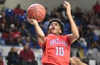 Fort Smith Northside guard Isaiah Joe (10) goes for a basket during the 7A boys state championship basketball game against North Little Rock at Bank of the Ozarks Arena on Satuday, March 11, 2017, in Hot Springs.