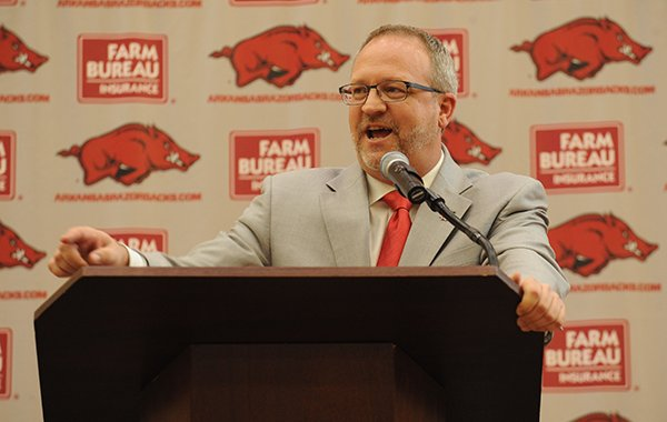 Arkansas women's basketball coach Mike Neighbors speaks Tuesday, April 4, 2017, during a ceremony and press conference to announce his hire at the university's basketball practice facility.