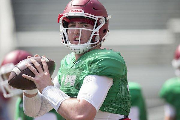 Arkansas redshirt freshman quarterback Cole Kelley during practice Saturday, April 8, 2017.