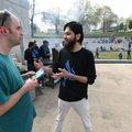 "Dan Severino of Fayetteville (left) talks with Nazmuddin Shaikh of Bentonville at the ""Meet a Muslim..."