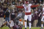 Arkansas defensive back Ryan Pulley (11) celebrates after breaking up a pass intended for Mississippi State Bulldogs Fred Ross (8) on Saturday, Nov. 19, 2016, at Davis Wade Stadium in Starkville, Miss., during the second quarter.
