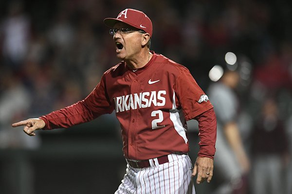 Arkansas coach Dave Van Horn argues a called foul ball against Mississippi State Saturday, March 18, 2017, during the sixth inning at Baum Stadium in Fayetteville.