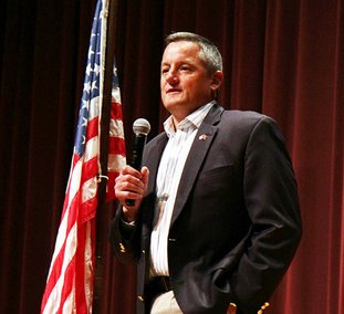 "The Sentinel-Record/Lorien E. Dahl HOT TOPICS: U.S. Rep. Bruce Westerman, R-District 4, spoke in Hot Springs Village on Wednesday during a ""Coffee with your Congressman"" event, held in Woodlands Auditorium. Some 75 constituents attended to hear Westerman address issues facing the 4th Congressional District and all Americans."