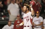 Luke Bonfield, Arkansas left fielder, runs the bases after hitting a home run Thursday, April 13, 2017, during the third inning against Georgia at Baum Stadium in Fayetteville.