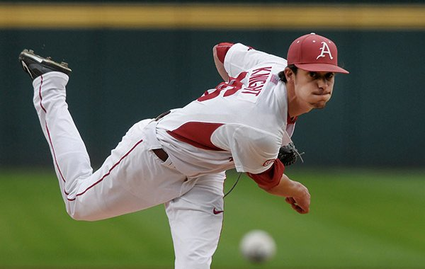 Blaine Knight pitches for Arkansas Thursday, April 13, 2017, during the game against Georgia at Baum Stadium in Fayetteville.