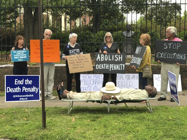 this-photo-provided-by-sherry-simon-shows-pulaski-county-circuit-judge-wendell-griffen-taking-part-of-an-anti-death-penalty-demonstration-outside-the-governors-mansion-friday-april-14-2017-in-little-rock