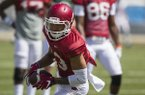 Sophomore receiver Deon Stewart catches a pass while warming up before Arkansas' scrimmage Saturday, April 15.
