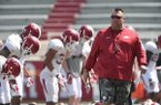 Arkansas head coach Bret Bielema at practice Saturday April 15, 2017.