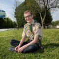 Hogan Maestri, 17, sits Friday, April 14, 2017, in the location of his proposed Fallen Soldier Memor...