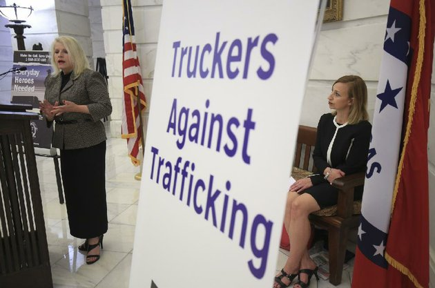 sen-linda-collins-smith-left-r-pocahontas-speaks-tuesday-during-a-news-conference-at-the-state-capitol-about-house-bill-1923-as-kylla-lanier-with-truckers-against-trafficking-waits-her-turn-the-bill-signed-by-gov-asa-hutchinson-shortly-after-the-event-would-require-a-human-trafficking-prevention-course-for-drivers-as-part-of-commercial-licensing-requirements