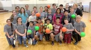 Comiskey's class sixth-grade champions Photo submitted Karen Comiskey's sixth-grade class won the championship for Siloam Springs Intermediate School's dodgeball intramurals.