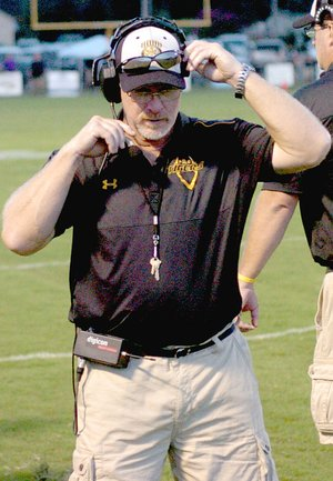 FILE PHOTO Prairie Grove head football coach Danny Abshier has been named the National Federation of State High School Coaches Association Southwest Section Coach of the Year. Abshier led the Tigers to a 12-1 record, 2016 conference championship, and second consecutive appearance in the State 4A semifinals.