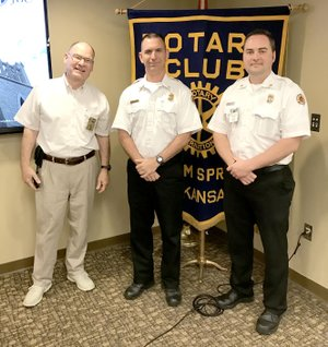 Photo submitted Jeremy Criner, Siloam Springs Fire Chief, and John Vanatta, Deputy Fire Chief, were the guest speakers to the Siloam Springs Rotary Club on April 4. They gave insight to the current training and anticipated upgrades in equipment coming to the department. Pictured from left, are Jim Grossardt, President-elect of the Rotary Club, Vanatta and Criner.