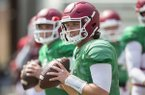 Arkansas quarterback Austin Allen goes through practice Saturday, April 8, 2017, at Razorback Stadium in Fayetteville.