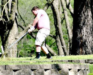 Photo by Rick Peck Blake Harrell tees off on hole number 7 at Elk River Golf Course in Noel on Tuesday. Harrell shot a 61 in the dual against the Neosho Wildcats.