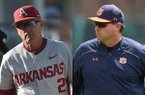 Arkansas coach Dave Van Horn, left, and Auburn coach Butch Thompson are candidates for SEC coach of the year after strong starts to 2017. (Photos: Arkansas Democrat-Gazette File/Auburn Athletics)