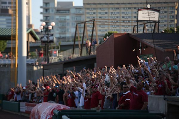 Arkansas fans call the Hogs prior to a game against Memphis on Wednesday, April 19, 2017, at Dickey-Stephens Park in North Little Rock.