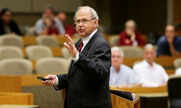 former-arkansas-supreme-court-chief-justice-howard-brill-speaks-thursday-on-ethics-and-the-arkansas-supreme-court-in-the-ej-ball-courtroom-on-the-campus-of-the-university-of-arkansas-fayetteville