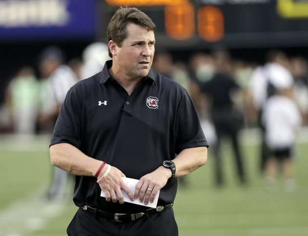 in-this-sept-1-2016-file-photo-south-carolina-coach-will-muschamp-watches-players-warm-up-for-an-ncaa-college-football-game-against-vanderbilt-in-nashville-tenn