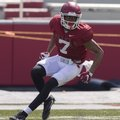Junior receiver Jonathan Nance works during Arkansas' football practice on Saturday, April 8, 2017, ...