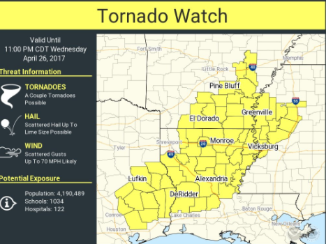 Tornado Watch Remains For Part Of State Weather Service To - Average us tornado map national weather service
