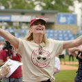 Geena Davis takes the field during player introductions at the second annual Bentonville Film Festiv...