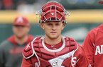 Arkansas catcher Grant Koch walks toward the plate prior to a game against Ole Miss on Friday, April 28, 2017, in Fayetteville.