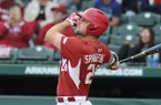 Arkansas' Chad Spanberger swings during a game against Ole Miss on Friday, April 28, 2017, in Fayetteville.