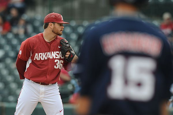 Arkansas pitcher Cannon Chadwick looks toward the plate during a game against Ole Miss on Friday, April 28, 2017, in Fayetteville.