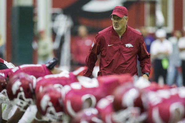 Defensive coordinator Paul Rhoads during Arkansas football practice on Saturday, April 29, 2017, inside Walker Pavilion in Fayetteville