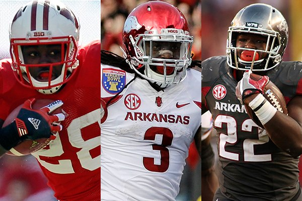 Wisconsin running back Montee Ball (left) and Arkansas running backs Alex Collins (center) and Rawleigh Williams (right) had breakout seasons under head coach Bret Bielema. (AP Photos)