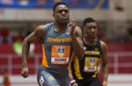 Tennessee's Christian Coleman competes in the 60-meter dash at the Southeastern Conference indoor track and field championships Friday, Feb. 26, 2016, in Fayetteville, Ark. (AP Photo/Gunnar Rathbun)