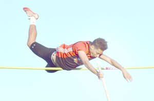 Photo by Rick Peck McDonald County pole vaulter Zack Woods clears 12-3 to win a Big 8 Conference championship at the conference track meet held May 4 at Cassville High School.