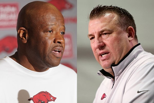 Arkansas basketball coach Mike Anderson, left, and football coach Bret Bielema earned big bonuses for the 2015-16 APR scores. (Arkansas Democrat-Gazette Photos)