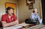 Phil Elson, voice of Arkansas baseball, calls the play-by-play action alongside longtime color analyst Rick Schaeffer during the Razorbacks' game with Louisiana-Monroe on Wednesday, March 8, 2017, at Baum Stadium in Fayetteville.