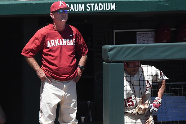 Arkansas coach Dave Van Horn watches from the dugout during a game against Vanderbilt on Sunday, May 14, 2017, in Fayetteville.