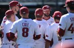 Arkansas assistant coach Tony Vitello speaks to his team against Bryant Friday, Feb. 24, 2017, during the inning at Baum Stadium in Fayetteville.