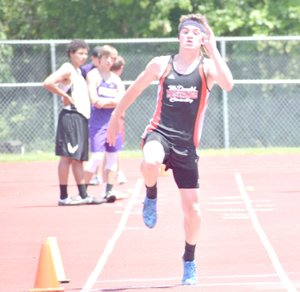 Photo by Rick Peck McDonald County's Shane Russo took fifth place in the triple jump at Saturday's Missouri Class 4 District 6 Track and Field Championships to just miss qualifying for this week's sectional meet.