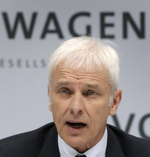 In this March 14, 2017 file photo Matthias Mueller, CEO of Volkswagen addresses the media a press conference of the German Volkswagen company in Wolfsburg, Germany.