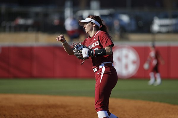 Arkansas infielder Madison Yannetti throws the ball during a game against Nebraska on Friday, March 3, 2017, at Bogle Park in Fayetteville.